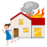 Housewife to escape from fire. Vector illustration. Original paintings and drawing Stock Photos