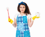 Housewife with toilet brush and paper Stock Photography