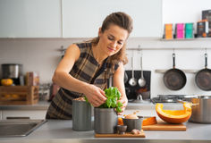 Housewife using fresh basil while cooking Stock Images