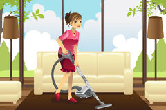 Housewife vacuuming carpet royalty free illustration