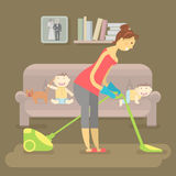Housewife vacuuming room Royalty Free Stock Photography