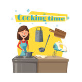 Housewife vector woman at kitchen cooking stove Stock Photo