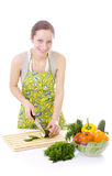 Housewife with vegetables Royalty Free Stock Photos