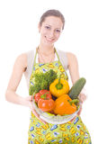 Housewife with vegetables. Isolated on white Stock Image