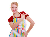 Housewife or waitress making inviting welcome gesture kitchen apron isolated. Happy housewife kitchen apron or small business owner entrepreneur shop assistant Royalty Free Stock Photo