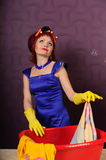 Housewife wash clothes. In the basin. Photo taken in the pin up stock photo