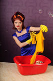 Housewife wash clothes Royalty Free Stock Images