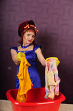 Housewife wash clothes Royalty Free Stock Photo