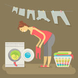 Housewife washes clothes Royalty Free Stock Photos