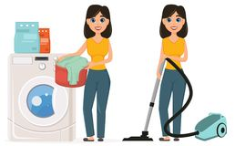 Housewife washes clothes in the washing machine vacuuming home w Stock Image