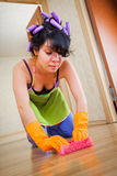 Housewife washes a floor Royalty Free Stock Image