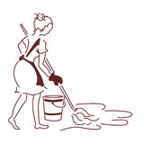 The Housewife. Washes floors in the room Royalty Free Stock Photo
