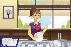 Housewife washing dishes. A vector illustration of a housewife washing dishes in the kitchen Royalty Free Stock Photography