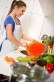 Housewife washing dishes Stock Images