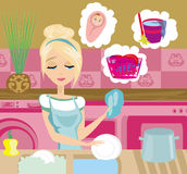 Housewife washing the dishes Stock Photo