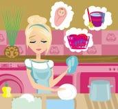 Housewife washing the dishes. Illustration Stock Photo