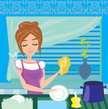 Housewife washing the dishes at night Royalty Free Stock Photos