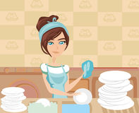 Housewife washing the dishes Royalty Free Stock Photography