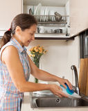 Housewife  washing kitchenware Royalty Free Stock Image