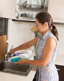 Housewife washing plates Stock Image