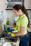 Housewife washing plates in kitchen Stock Images