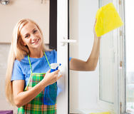 Housewife washing window Stock Photography