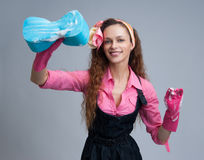 Housewife wearing rubber gloves Royalty Free Stock Images