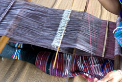 Housewife weave cotton cloth in Thailand Stock Images