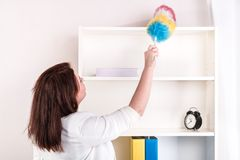 Housewife wiping dust off the shelves Stock Photo
