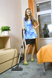 Housewife With Vacuum Cleaner Stock Photos