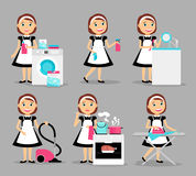 Housewife working icons Royalty Free Stock Photos