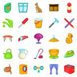 Housewifery icons set, cartoon style Stock Images