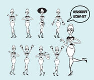 Housewifes icons set - design elements collection retro Stock Images