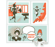 Housewifes icons set - design elements collection Two women talking Stock Image