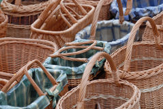 Housewifes shopping baskets. A lot of baskets at a market in germany Royalty Free Stock Image