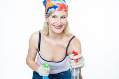 Housewive with Spray Bottles Royalty Free Stock Photos