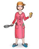 Housewomen with tool. Handdraw illustration. Royalty Free Stock Image