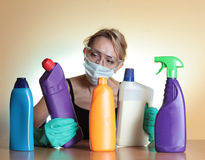 Housework. Woman and housework. Focus on chemical royalty free stock photos