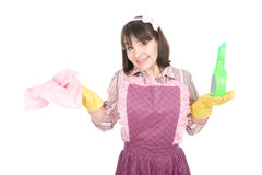 Housework. Young adult woman doing housework. over white background royalty free stock images