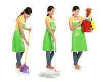 Housework. Three different action of woman doing her housework royalty free stock image