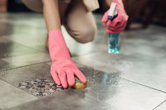 Free Housework And Housekeeping Concept. Woman Cleaning Floor With Mo Royalty Free Stock Image - 98774296