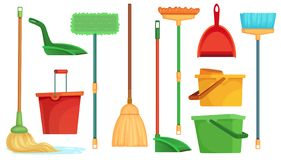 Housework broom and mop. Sweeper brooms, home cleaning mops and cleanup broom with dustpan isolated cartoon vector. Housework broom and mop. Sweeper brooms, home vector illustration