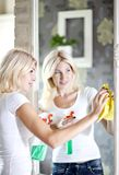 Housework. Chores around the house. Young  housewife cleans the mirror Stock Photo