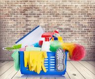 Housework. Clean cleaning equipment duster chores dustpan bath sponge Stock Image