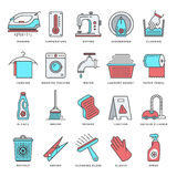 Housework and Cleaning Flat Line Icon Set Royalty Free Stock Photography
