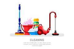 Housework and cleaning service concept. Vacuum cleaner, bucket and mop, vector isolated illustration. Household tools and supplies vector illustration