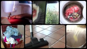 Housework, collage stock footage