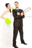 Housework concept and married couple. Royalty Free Stock Images