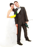 Housework concept and married couple. Stock Images