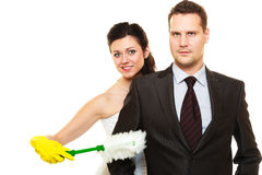 Housework concept and married couple. Stock Photos